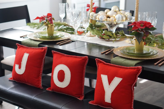 copper holiday tablescape