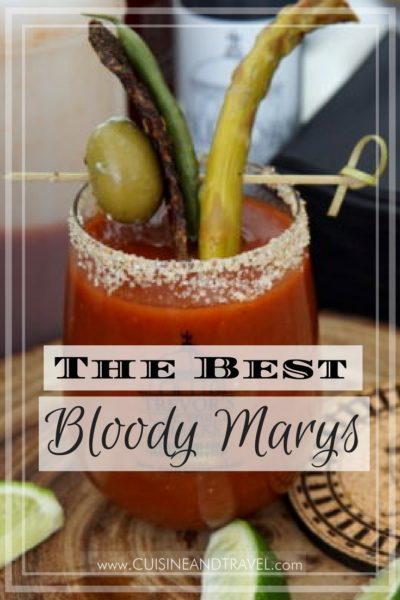 Bloody Mary with pickle, beef jerky, and olive