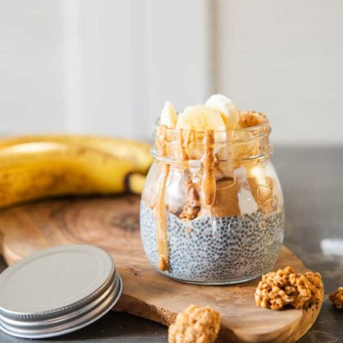 Banana Chia Seed Pudding Peanut Butter Parfait