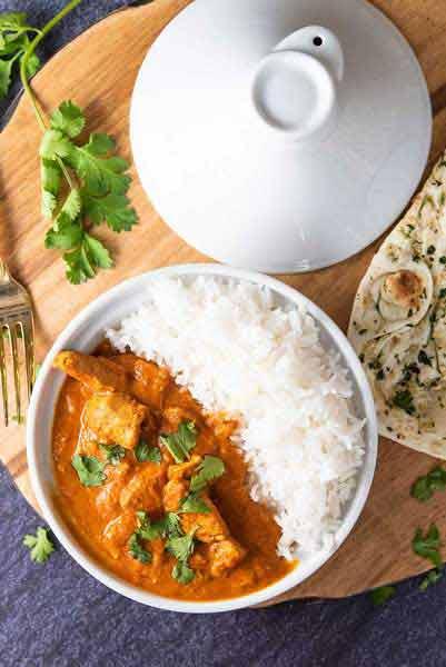 chicken tikka masala and naan