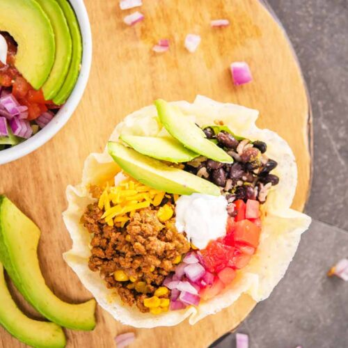 Awesome Low Carb Keto Taco Bowl With Cheese Shell