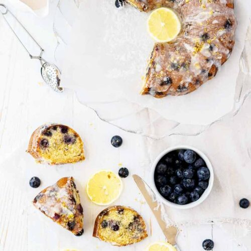 Delicious Gluten Free Lemon Cake with Blueberries (No Sugar Added!)