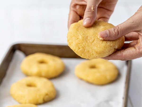 flattened bagel dough