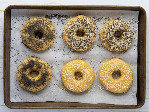 bagel dough topped seeds