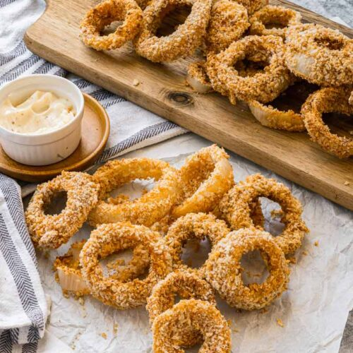The Crispiest Vegan Air Fryer Onion Rings (Better Than Using Eggs!)