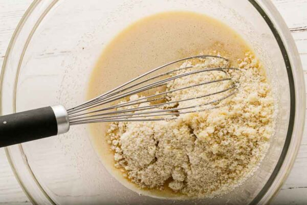 mixing eggs and monk fruit sugar