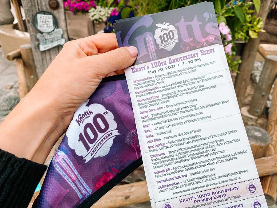 Knotts Berry Farm Summer Nights Tasting Card