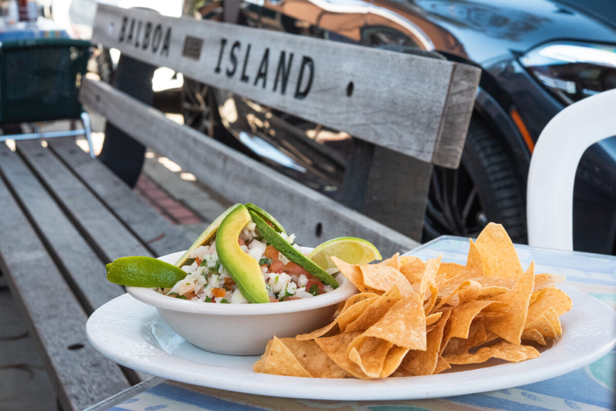 Ceviche in front of balboa island bench